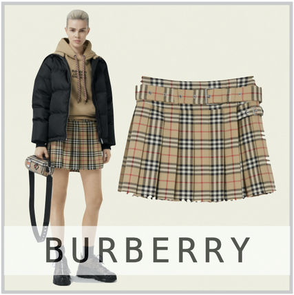Burberry Gingham Wool Pleated Skirts Mini Skirts