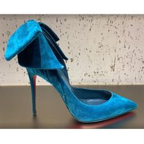 Christian Louboutin Suede Plain Leather Pin Heels Party Style Elegant Style