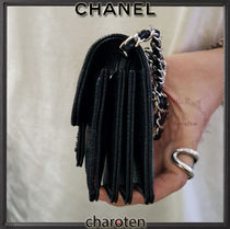 CHANEL CHAIN WALLET Calfskin Chain Plain Leather Folding Wallet Small Wallet