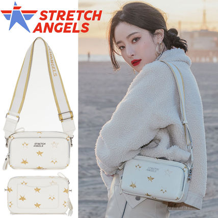 STRETCH ANGELS Shoulder Bags Casual Style 2WAY Plain Crossbody Logo Shoulder Bags