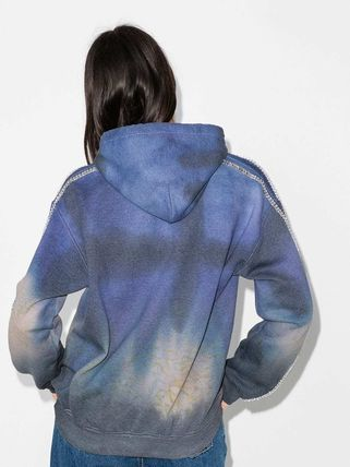Short Nylon Rib Street Style Tie-dye Long Sleeves Cotton