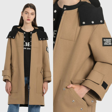 Burberry Wool Medium Oversized Logo Coats