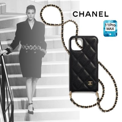 CHANEL Plain Leather Logo iPhone 11 Pro Max Smart Phone Cases