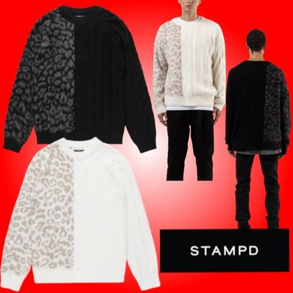 Cable Knit Street Style Long Sleeves Other Animal Patterns