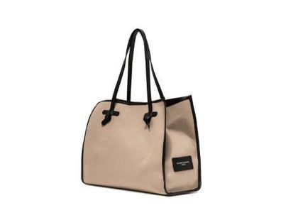 Casual Style Unisex Canvas A4 Plain Leather Logo Totes
