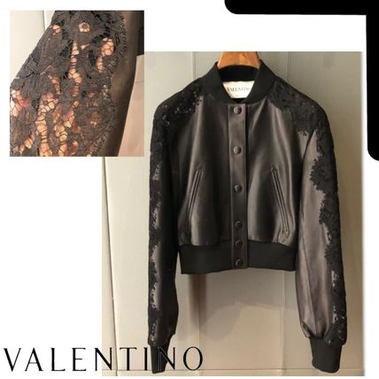 VALENTINO Logo Front Button Short Casual Style Plain Leather