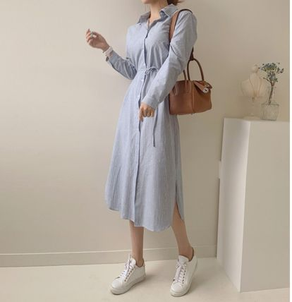 TOM&RABBIT Stripes Casual Style Long Sleeves Cotton Long Party Style