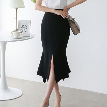 Pencil Skirts Plain Medium Party Style Office Style