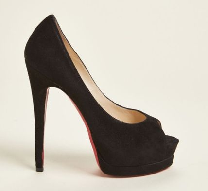 Christian Louboutin Open Toe Platform Suede Plain Leather Pin Heels
