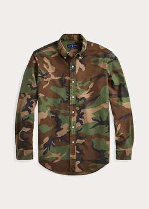 Ralph Lauren Camouflage Long Sleeves Cotton Logo Surf Style Shirts