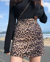 Pencil Skirts Short Leopard Patterns Nylon