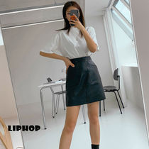 LIPHOP Pencil Skirts Short Plain Mini Skirts