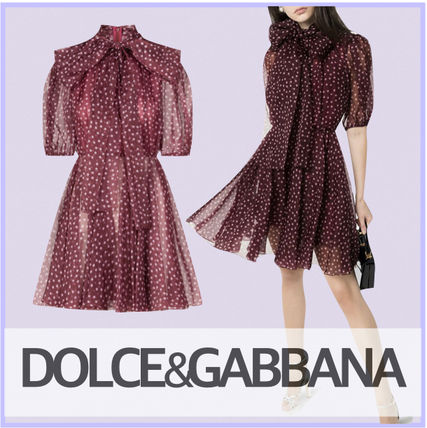 Dolce & Gabbana Short Dots A-line Silk Flared Party Style Elegant Style