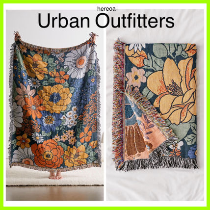Flower Patterns Unisex Fringes Morroccan Style Throws