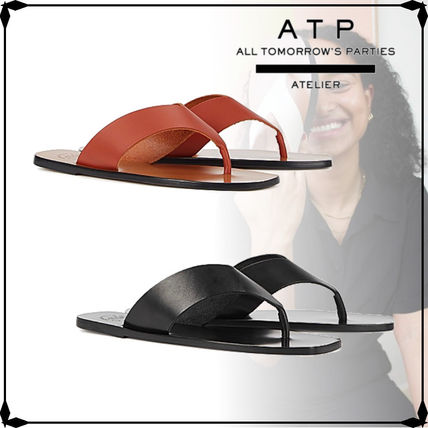 Square Toe Casual Style Street Style Plain Leather Sandals