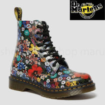 Dr Martens 1460 Flower Patterns Round Toe Casual Style Unisex Street Style