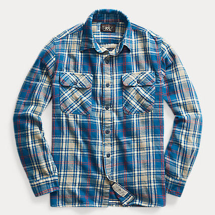 Button-down Other Plaid Patterns Street Style Long Sleeves