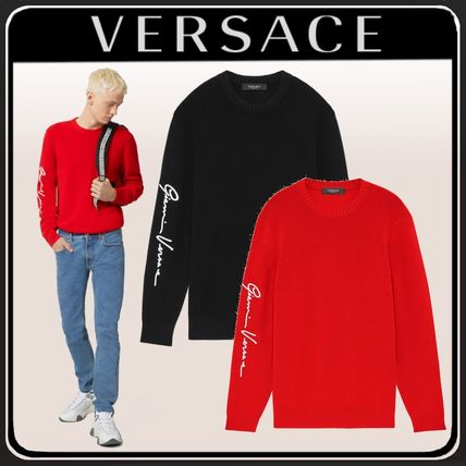 VERSACE Sweaters Crew Neck Wool Long Sleeves Logo Luxury Sweaters