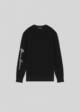 VERSACE Sweaters Crew Neck Wool Long Sleeves Logo Luxury Sweaters 2