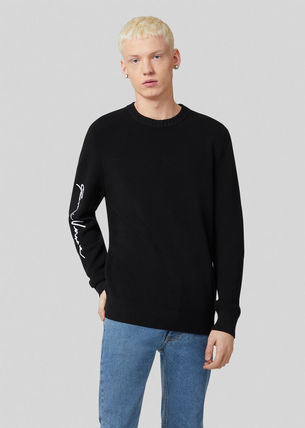 VERSACE Sweaters Crew Neck Wool Long Sleeves Logo Luxury Sweaters 3