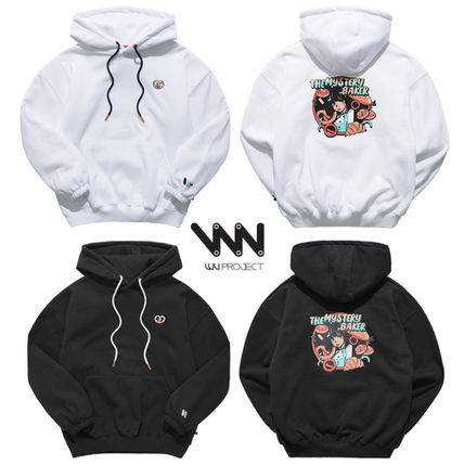 WV PROJECT Hoodies Unisex Street Style Long Sleeves Plain Cotton Hoodies
