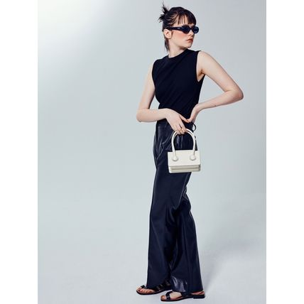 Casual Style 2WAY Plain Leather Party Style Elegant Style