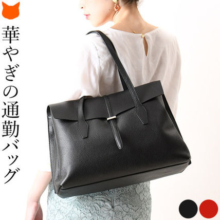 LORISTELLA A4 2WAY Plain Leather Office Style Elegant Style Totes