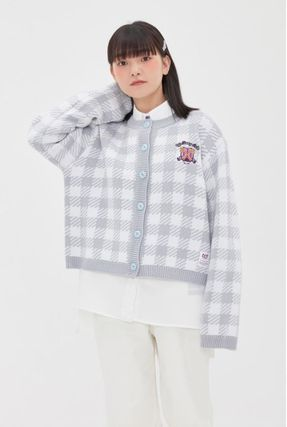 Gingham Casual Style Street Style Long Sleeves Medium Logo