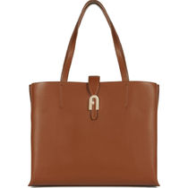 FURLA Casual Style A4 Plain Leather Office Style Elegant Style