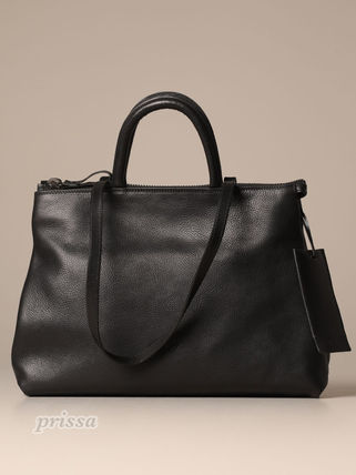 Unisex Plain Leather Logo Totes