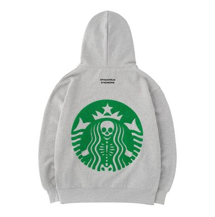 Street Style Long Sleeves Logo Sweatshirts