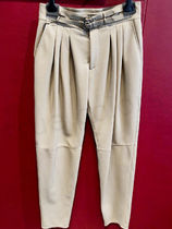 Dolce & Gabbana Plain Leather Logo Sarouel Pants