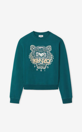 Crew Neck Long Sleeves Plain Other Animal Patterns Cotton