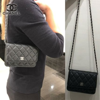 CHANEL Blended Fabrics Chain Plain Leather Party Style