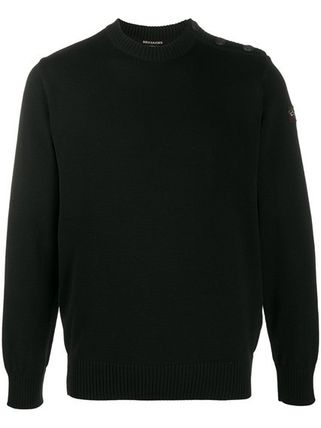 Crew Neck Wool Street Style Long Sleeves Plain Logo Sweaters