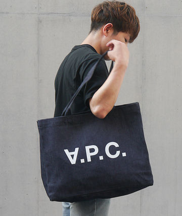 Monogram Unisex Canvas Denim Plain Logo Totes