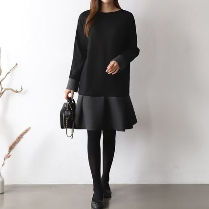 Casual Style Long Sleeves Plain Dresses