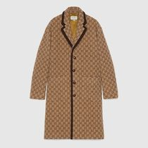 GUCCI Wool Logo Front Button Chester Coats