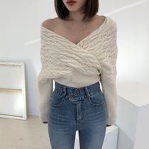 Cable Knit Casual Style V-Neck Long Sleeves Plain Medium
