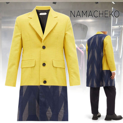 Wool Nylon Street Style Bi-color Long Trench Coats