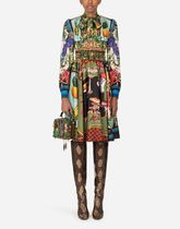 Dolce & Gabbana Tropical Patterns A-line Silk Flared Long Sleeves