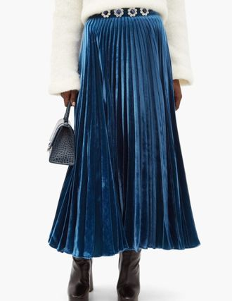 Casual Style Silk Pleated Skirts Plain Long Office Style
