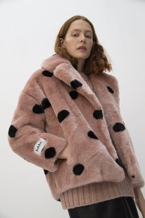 Stripes Heart Dots Casual Style Faux Fur
