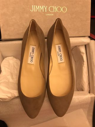 Jimmy Choo Plain Toe Casual Style Suede Plain Leather Office Style