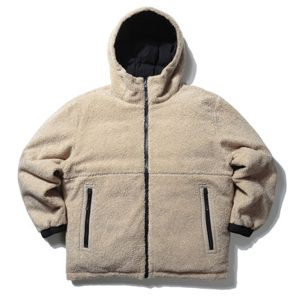 Unisex Street Style Collaboration Plain Shearling Logo