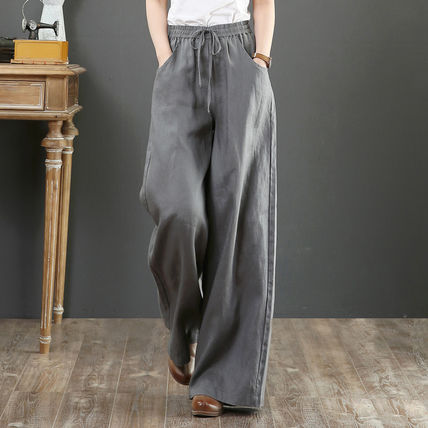 Linen Plain Long Pants