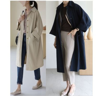 INDIBRAND Trench Casual Style Plain Long Party Style Office Style Oversized