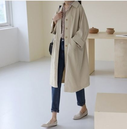 INDIBRAND Casual Style Plain Long Party Style Office Style Oversized