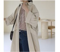 INDIBRAND Trench Casual Style Plain Long Party Style Office Style Oversized 5