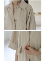 INDIBRAND Trench Casual Style Plain Long Party Style Office Style Oversized 8